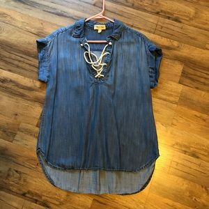 Anthropologie Cloth & Stone lace up denim shirt